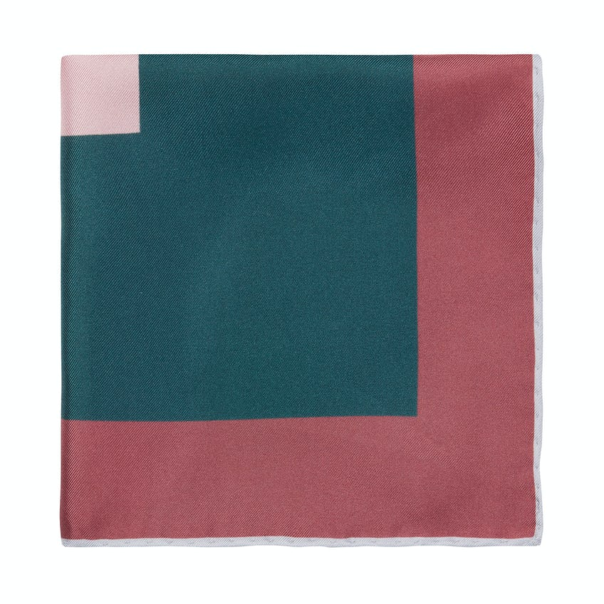 Silk Pink and Green Colour Blocked Pocket Square 0