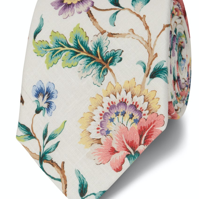 Liberty Fabric Eva Belle Cotton and Linen Wide Tie 0