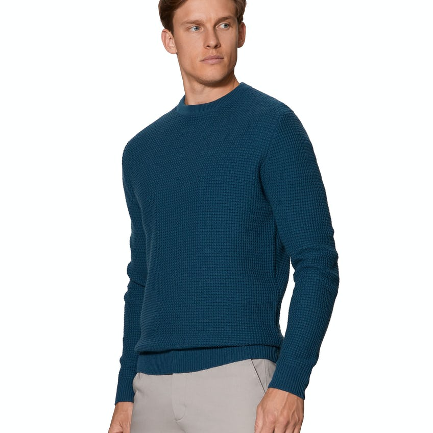 Stornoway Chunky Waffle Teal Crew Neck Slim Fit Jumper 0