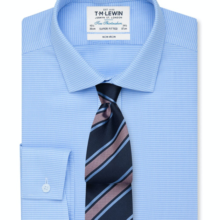 Non-Iron Blue Dogtooth Super Fitted Shirt 0