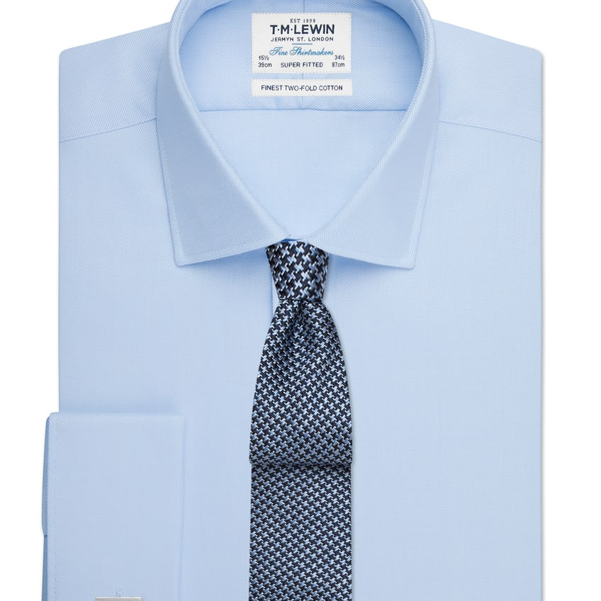 Sky Blue Twill Super Fitted Double Cuff Shirt 0