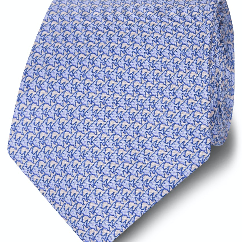Made in Italy Wide Light Blue and Pink Fish Silk Tie 0