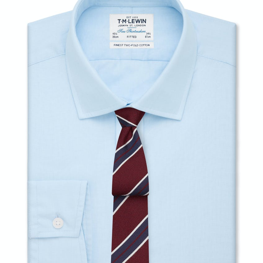 Fitted Light Blue End-on-End Button Cuff Shirt