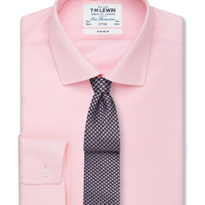 Non-Iron Pink Twill Button Cuff Fitted Shirt