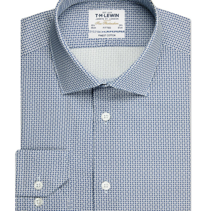 Fitted Navy Geo Single Cuff Shirt 0