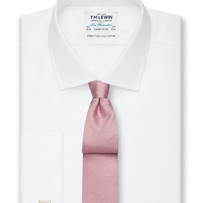 Super Fitted White Royal Oxford Double Cuff Shirt 0