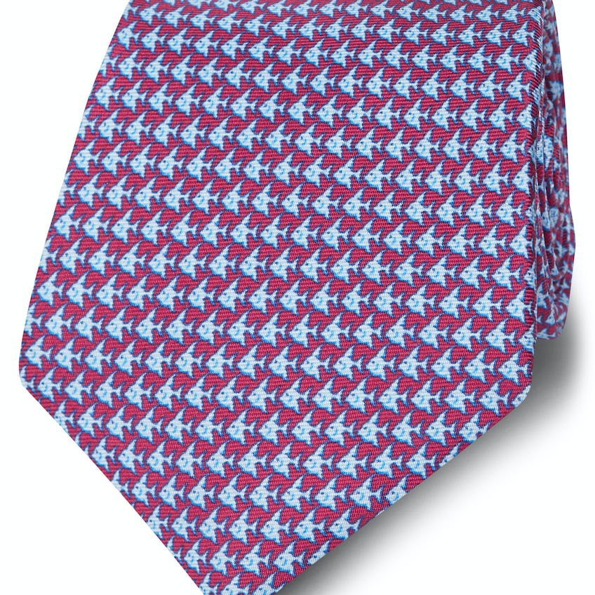 Made in Italy Wide Burgundy and Blue Fish Silk Tie 0
