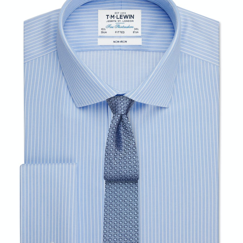 Non-Iron Fitted Blue and White Stripe Double Cuff Shirt 0
