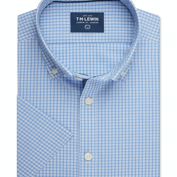 Half Sleeve Fitted Blue Micro Check Shirt 0
