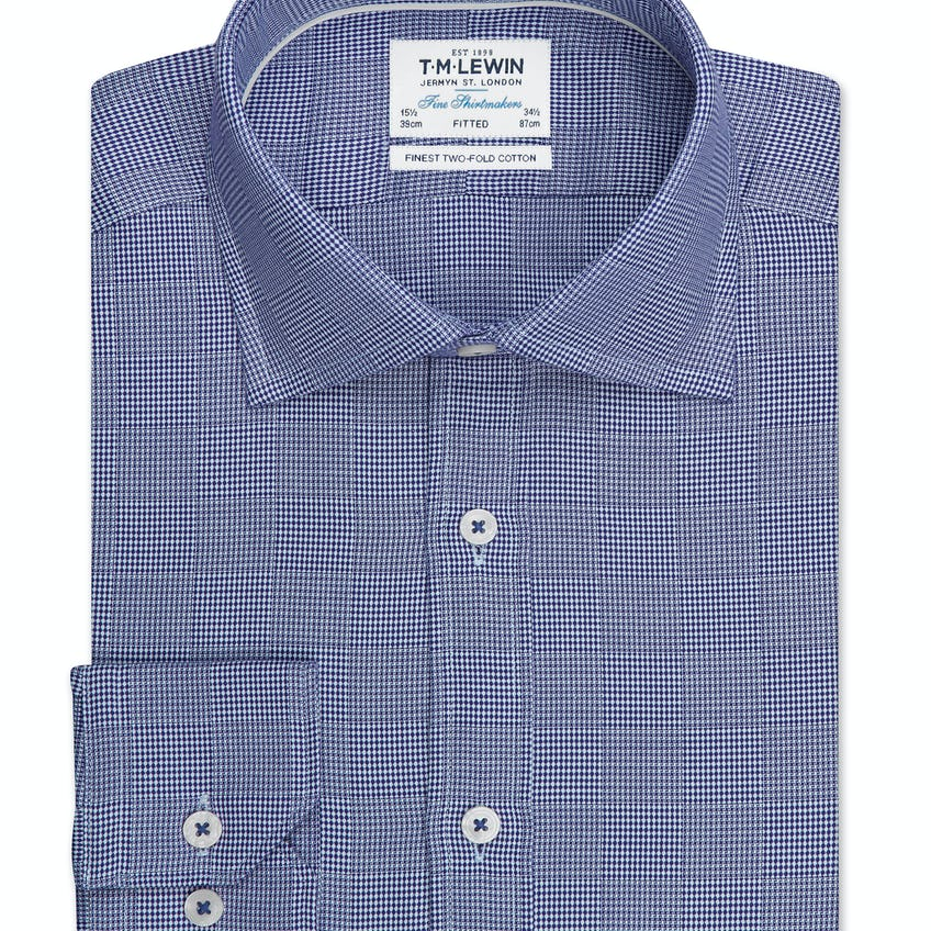 Optical Check Fitted Navy Single Cuff Shirt