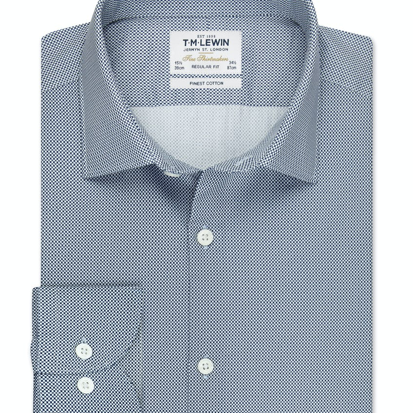 Regular Fit White and Navy Link Shirt 0