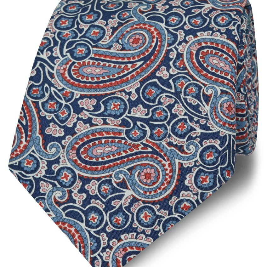 Made with Liberty Fabric Red Henry Print Tie 0