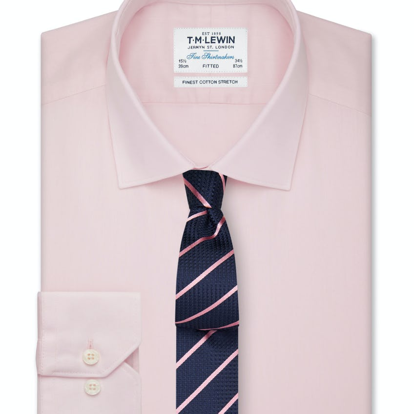Fitted Stretch Pink Button Cuff Shirt 0