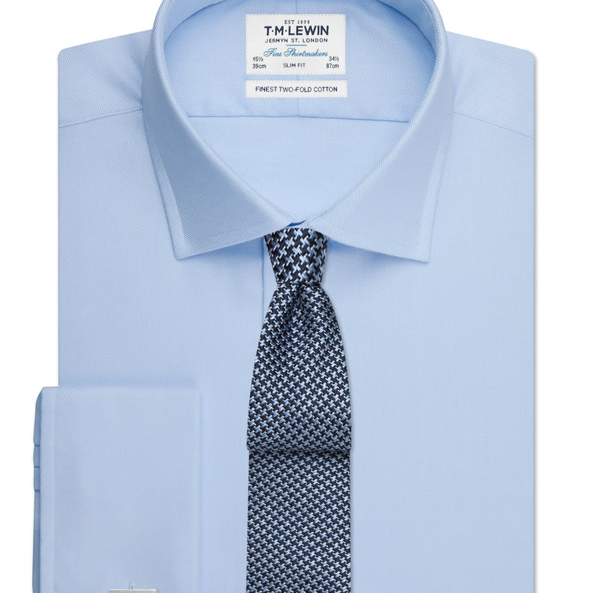Sky Blue Twill Slim Fit Double Cuff Shirt