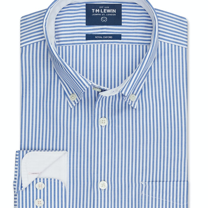 Royal Oxford Slim Fit Blue Stripe Shirt
