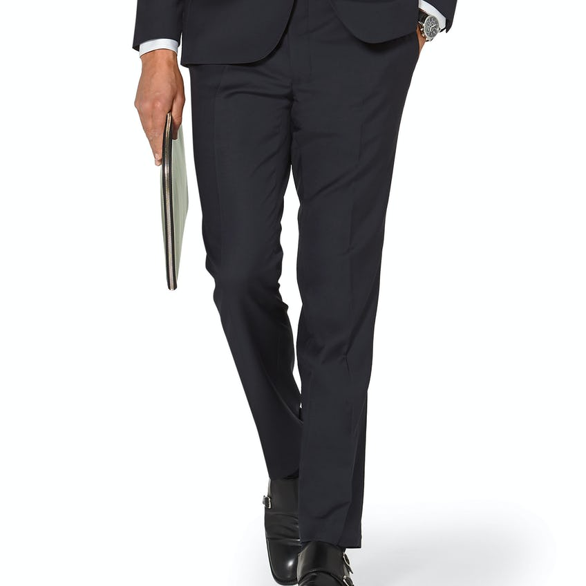 Hornsby Slim Fit Navy Twill Wool Trousers 0