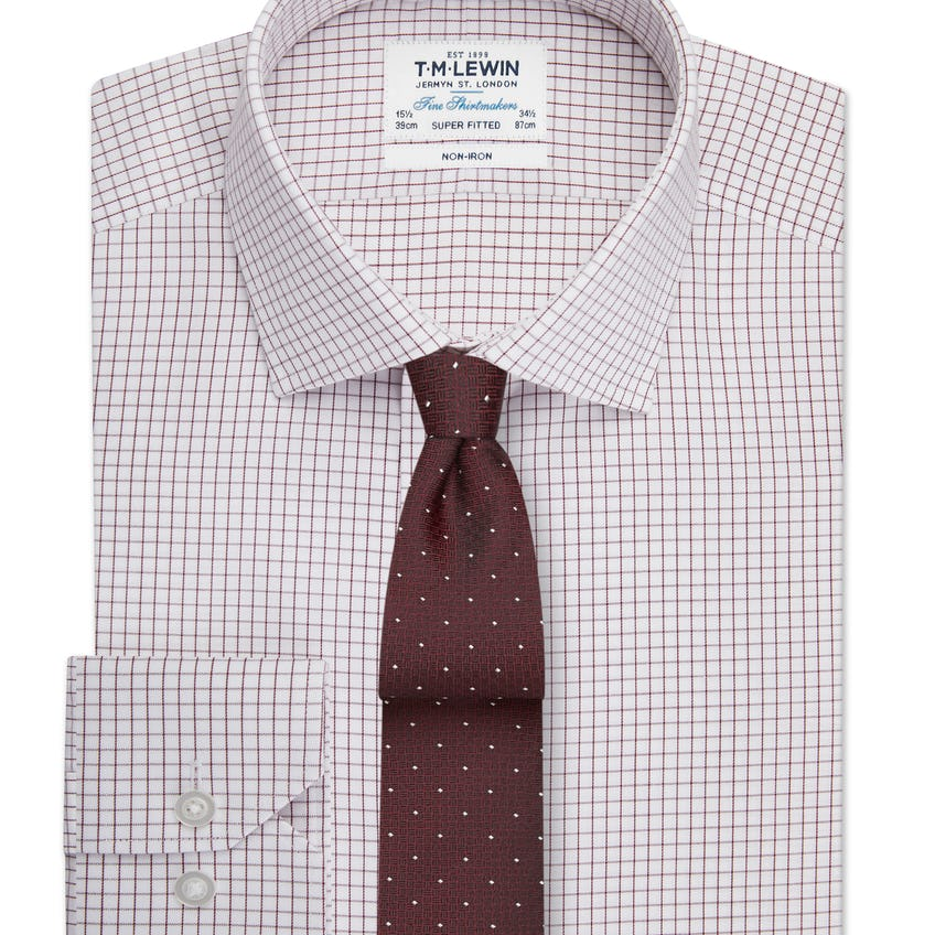 Non-Iron Super Fitted Burgundy Check Single Cuff Shirt 0