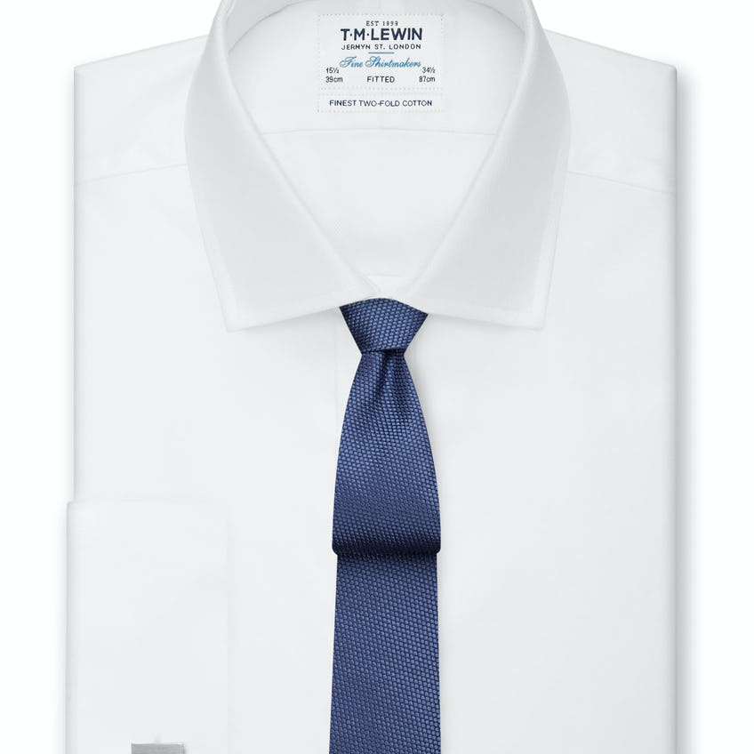 White Twill Fitted Double Cuff Shirt