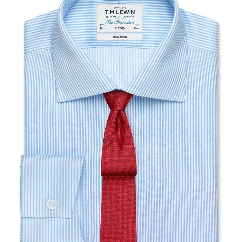 Non-Iron Blue Bengal Stripe Fitted Shirt 0