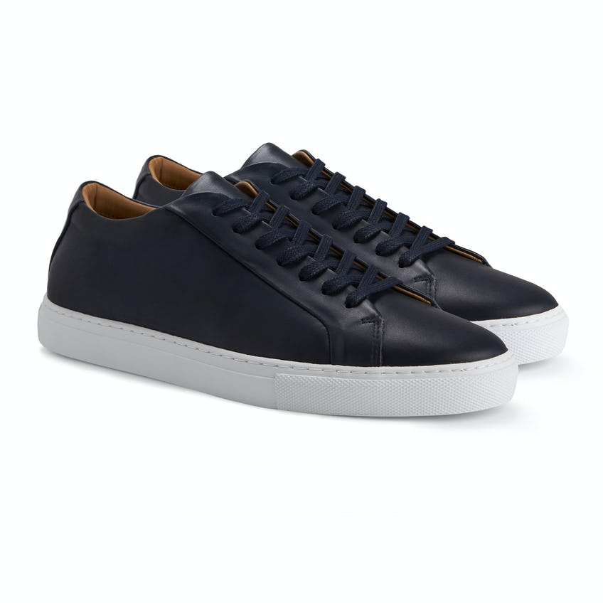 Navy London Leather Trainers 0
