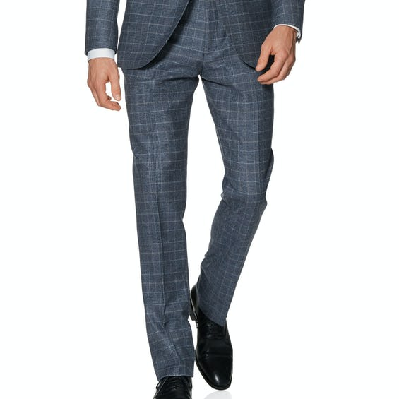 Phoenix Designed in Biella Slim Fit Blue and Taupe Check Trousers 0