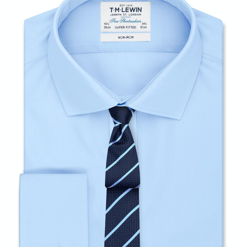 Non-Iron Super Fitted Blue Poplin Double Cuff Shirt