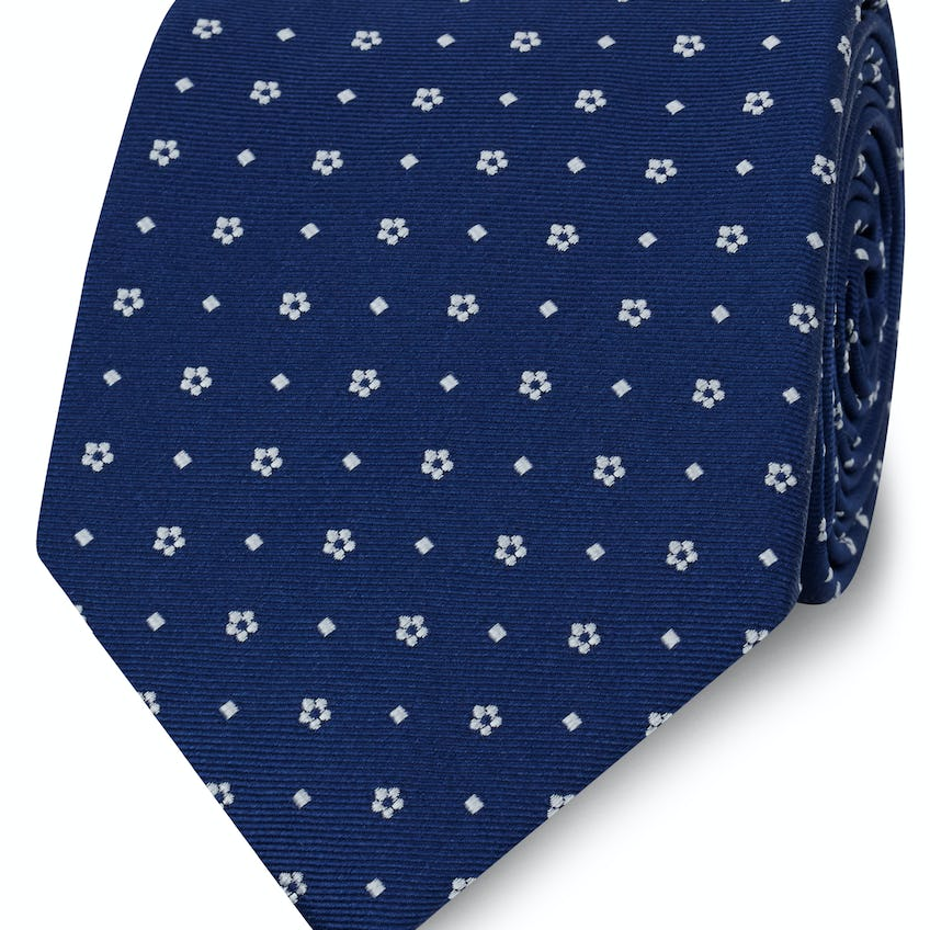 Classic Navy and White Mini Flower Spot Silk Wide Tie 0