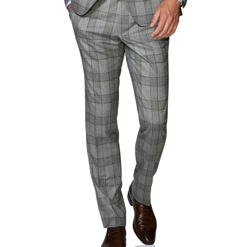 Moore Barberis Slim Fit Grey and Brown Check Trousers 0