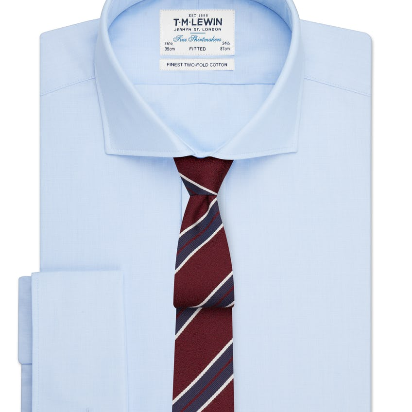 Fitted Light Blue End-on-End Cutaway Collar Double Cuff Shirt 0