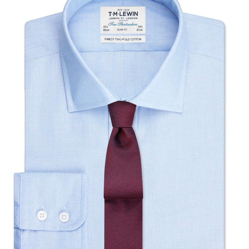 Slim Fit Blue End-on-End Button Cuff Shirt 0