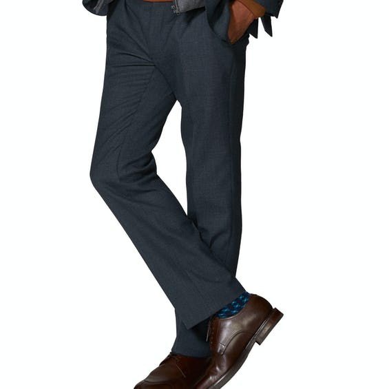 Wordsworth Woven in England Slim Fit Navy Micro Puppytooth Merino WoolTrousers 0
