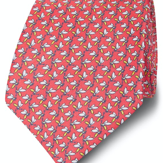Made in Italy Wide Coral and Yellow Wasp Silk Tie 0