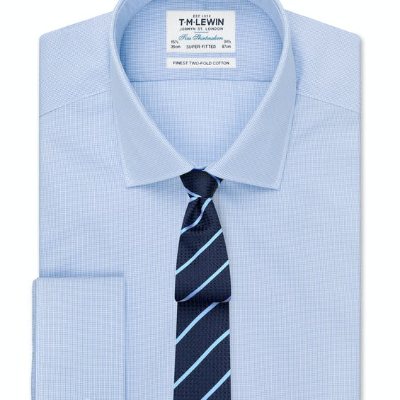 Super Fitted Blue Micro Check Double Cuff Shirt 0