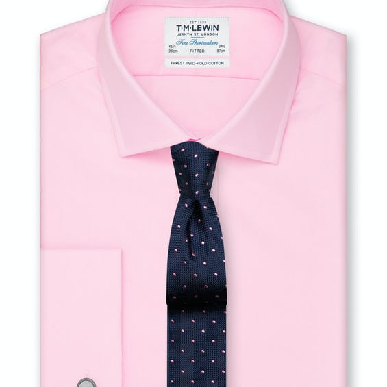 Fitted Pink Oxford Double Cuff Shirt 0