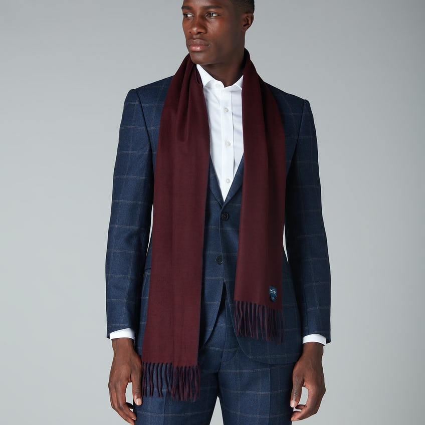 Navy and Burgundy Double Faced Cashmink Scarf 0