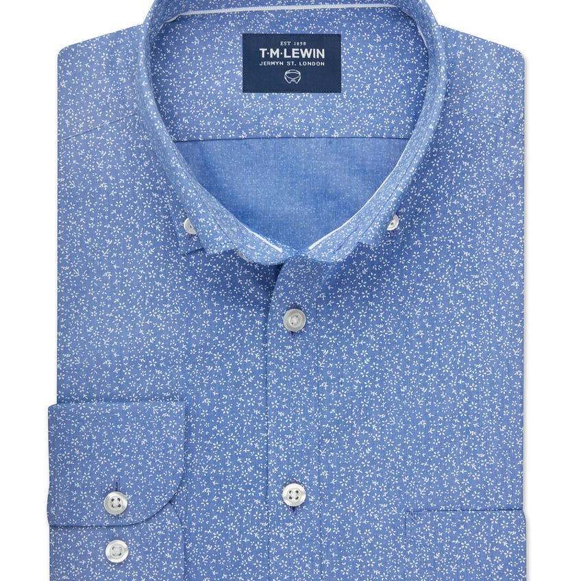Slim Fit Blue and White Ditsy Floral Print Shirt 0