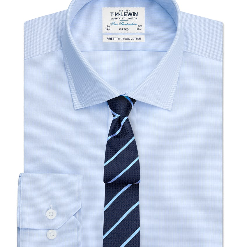 Fitted Light Blue Micro Check Shirt - Button Cuff 0
