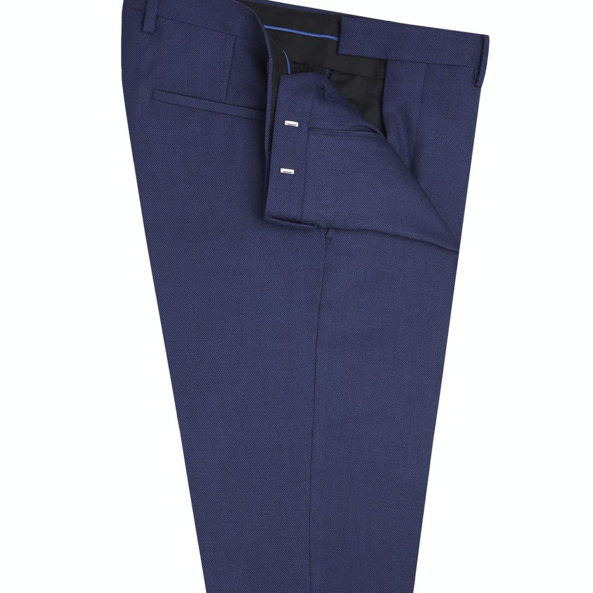 Jamie Infinity Active Slim Fit Blue Textured Trousers 0