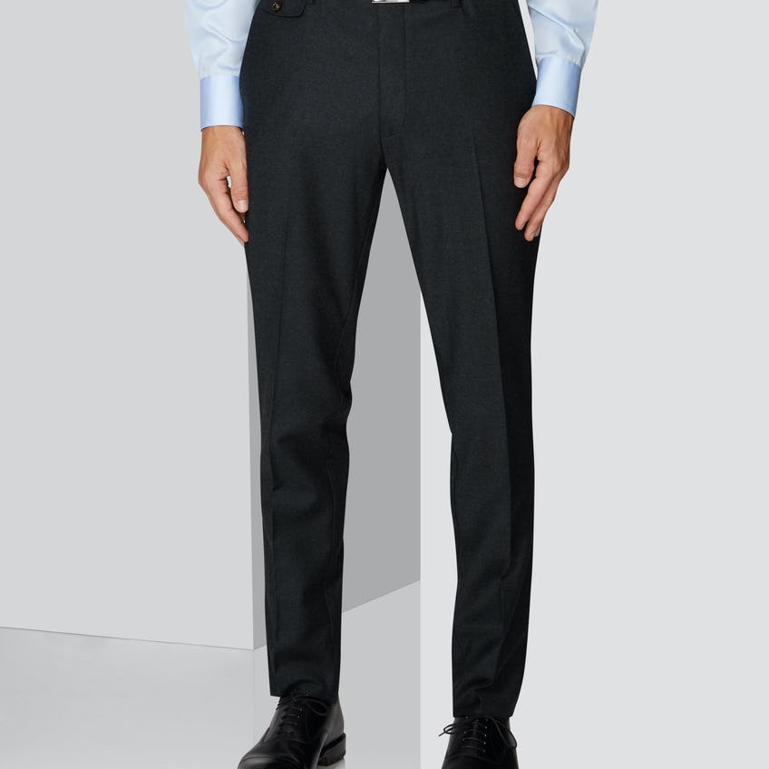 Connery Tailored Fit Charcoal Wool Stretch Trouser 0