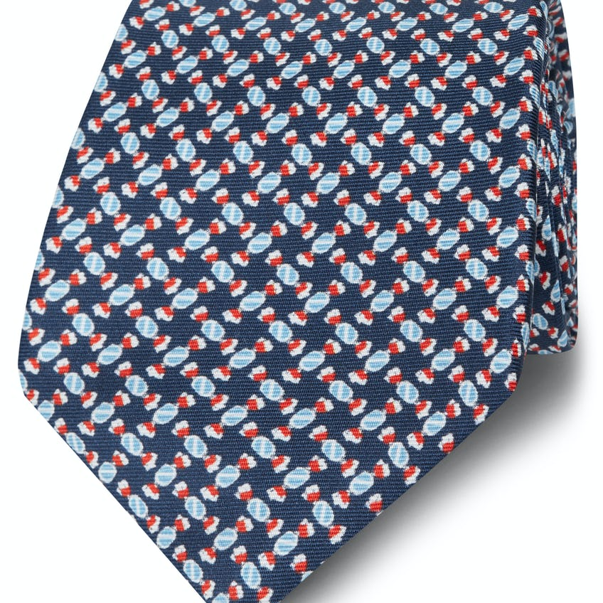 Made in Italy Wide Navy and Blue Sweetie Silk Tie 0