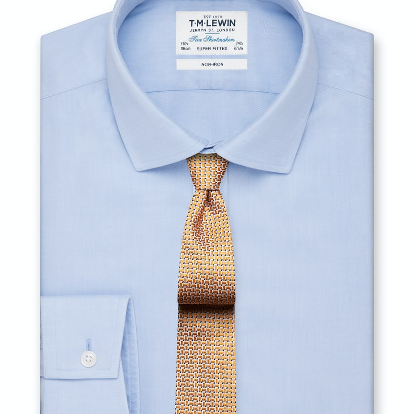 Non-Iron Super Fitted Sky Blue Twill Shirt 0