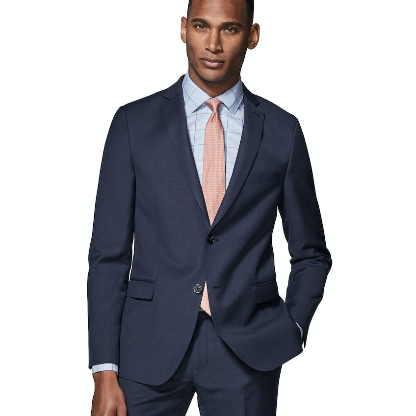 Costello Skinny Fit Navy Textured Jacket 0