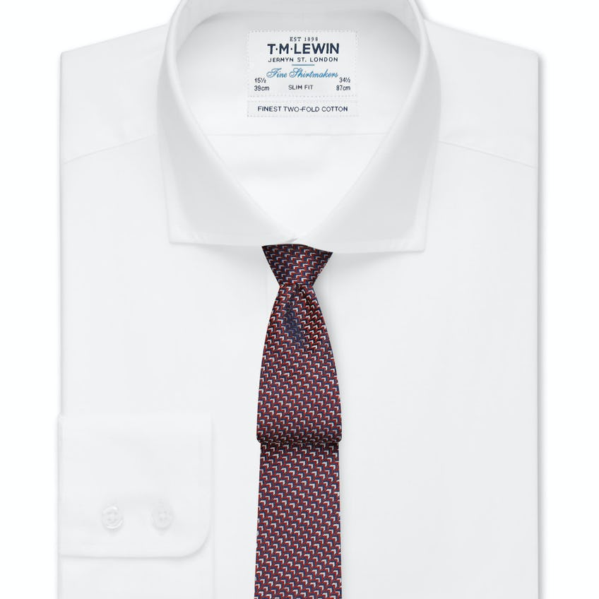Slim Fit White Poplin Cutaway Collar Shirt