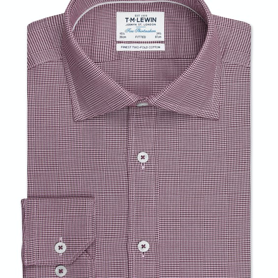 Optical Check Fitted Burgundy Single Cuff Shirt 0