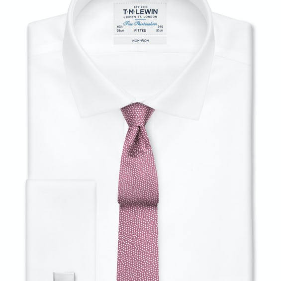 Non-Iron Fitted White Oxford Double Cuff Shirt 0
