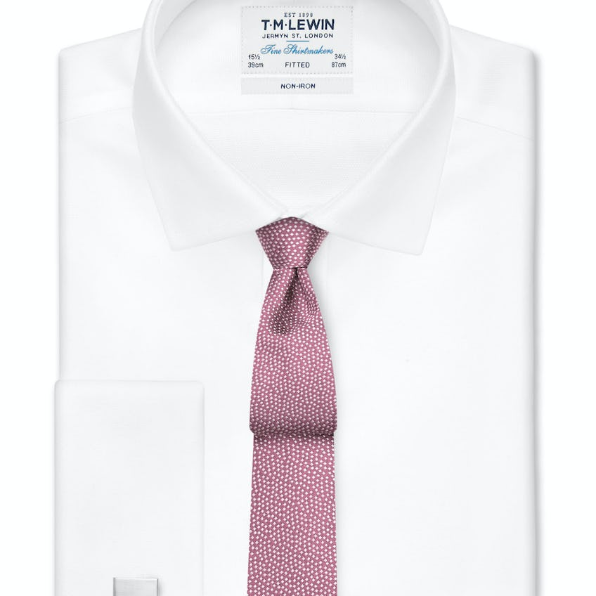 Non-Iron Fitted White Oxford Double Cuff Shirt