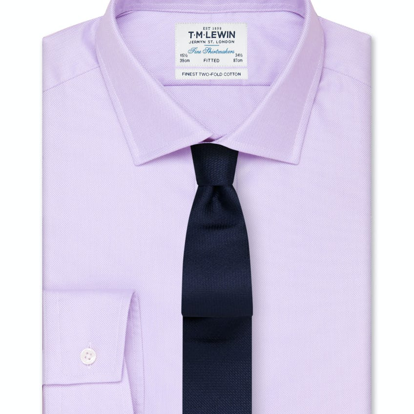 Fitted Lilac Oxford Button Cuff Shirt 0