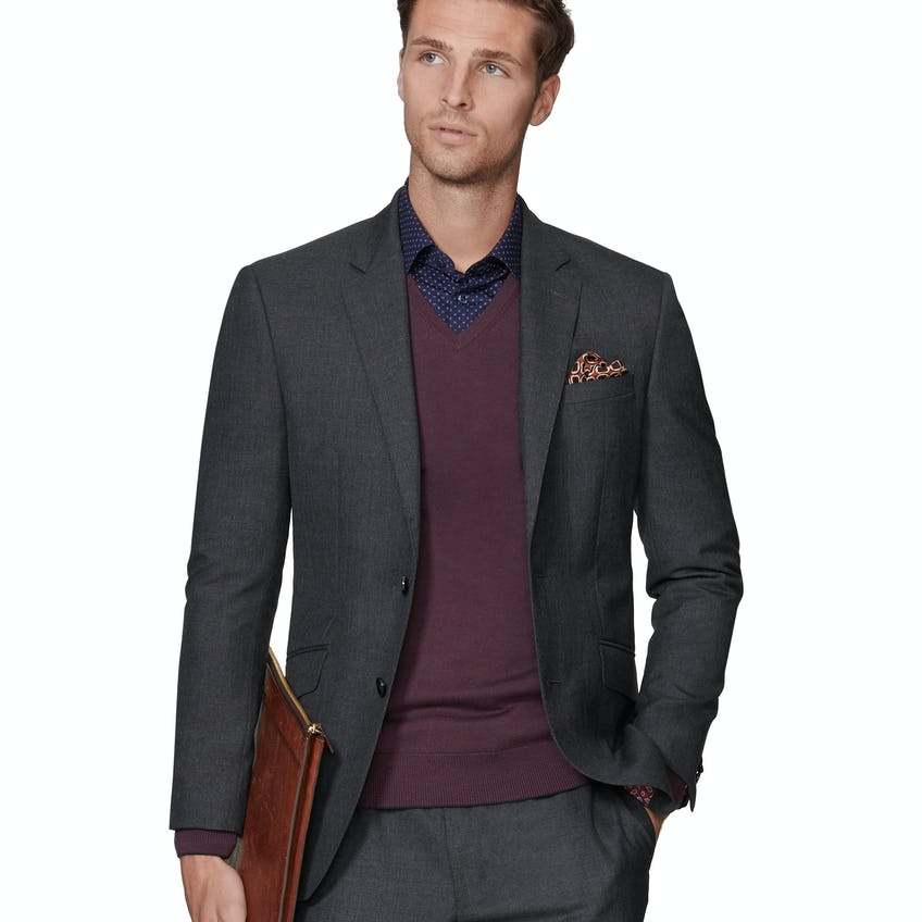 Barbican Barberis Slim Fit Charcoal Jacket