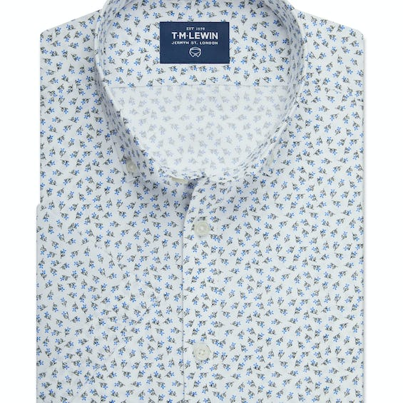 Half Sleeve Fitted White and Navy Floral Print Shirt 0