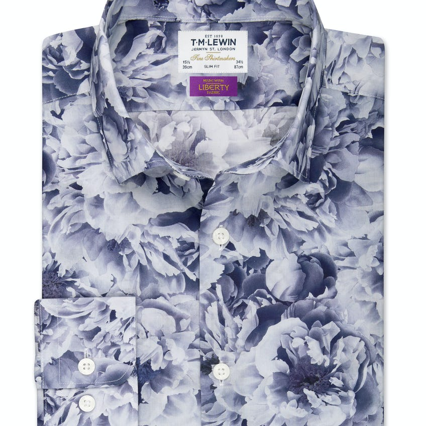 Slim Fit Made with Liberty Fabric Navy Everlasting Shirt 0